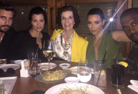 From Right to left: Scott disick, Kourtney Kardashian, Kardashian Grandmother Mary Jo Campbell, Kim Kardashian and Kanye West at Nobu restaurent in Malibu.